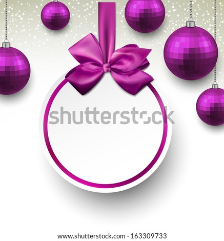 Holiday purple paper round labels. Christmas balls. Vector illustration.  - stock vector