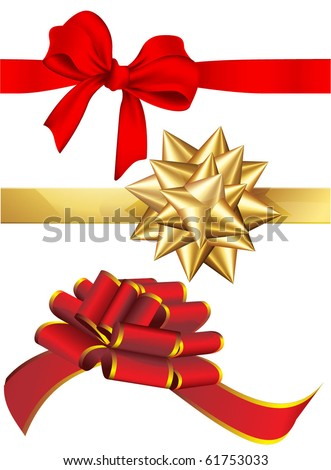 Holiday red and golden bows set. Vector. - stock vector