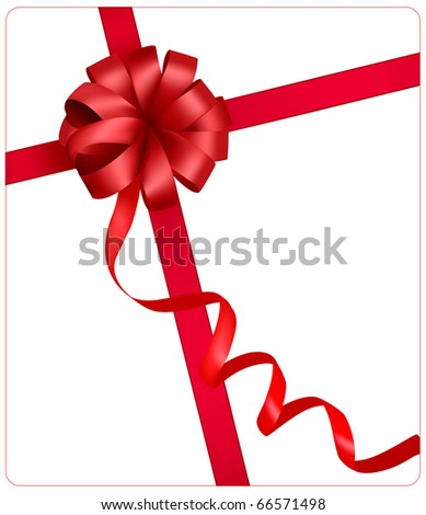 Holiday red bow with a ribbon. Vector. - stock vector