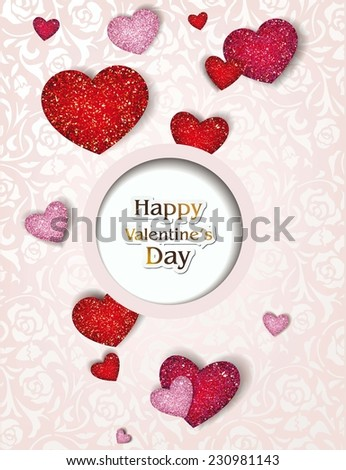 Holiday rose valentine's card with textured hearts - stock vector