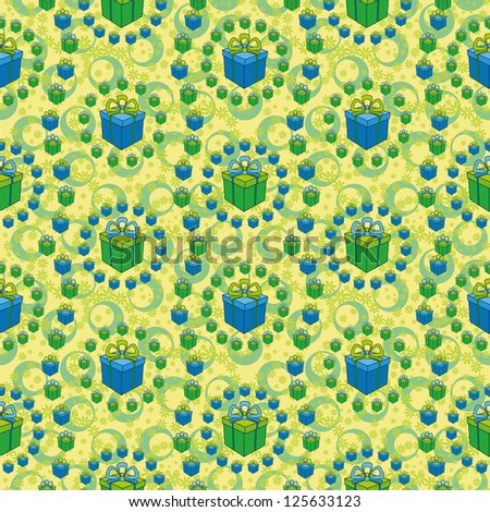 Holiday seamless background with a pattern of festive gift boxes, flowers and circles. Vector - stock vector