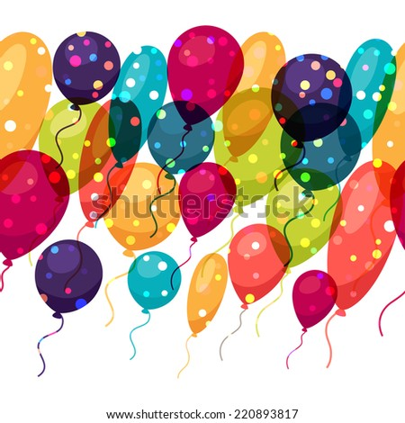 Holiday seamless pattern with shiny colored balloons. - stock vector