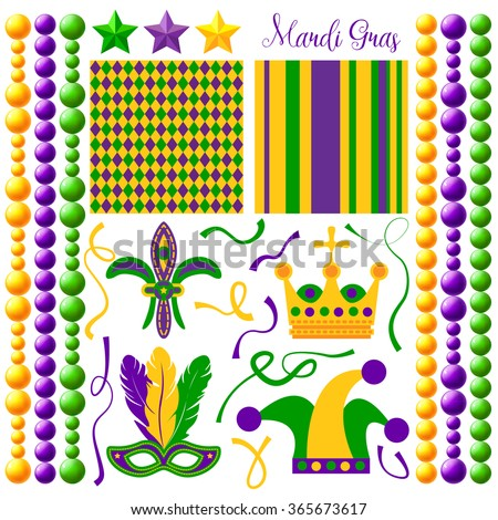 Holiday set. Carnival collection. Colorful Mardi Gras mask, stars, ribbons, Jester's hat, Fleur De Lis, Mardi Gras crown, Mardi Gras Purple, Green and Yellow Retro Geometric Seamless Patterns - stock vector