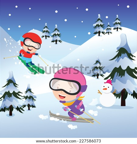 Holiday skiing. Vector illustration of children skiing on winter background. - stock vector