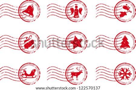 Holiday Stamp Set Grunge Motif Vector Illustration - stock vector