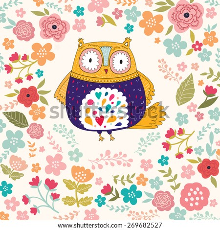 Holiday vector card with owl - stock vector