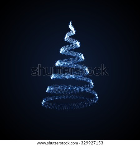 Holiday vector illustration of abstract Christmas tree. shiny lights sparkles. Merry Christmas - stock vector