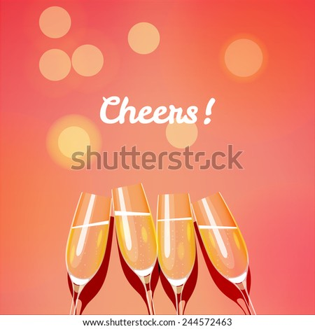 Holiday vector template with group of champagne glasses making a toast to the cheers. Cheers glasses - stock vector