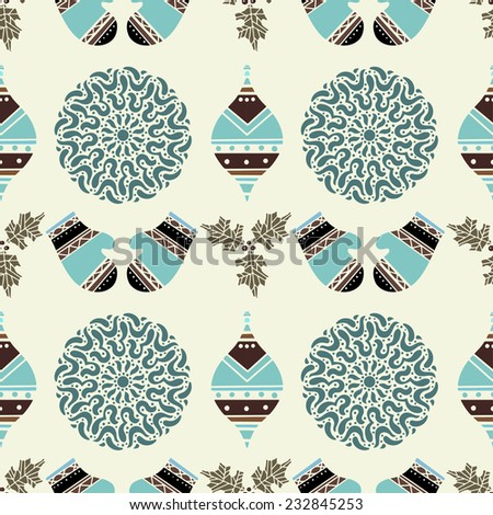 Holiday vintage Christmas seamless pattern with snowflakes, balls, holly, mittens. New Year ornament. Cloth design. Wallpaper - stock vector
