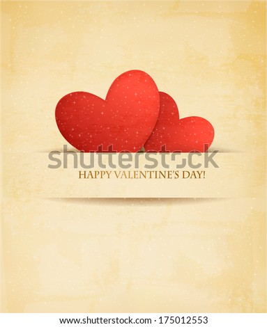 Holiday vintage Valentine`s day background. Two red hearts on old paper. Vector illustration - stock vector
