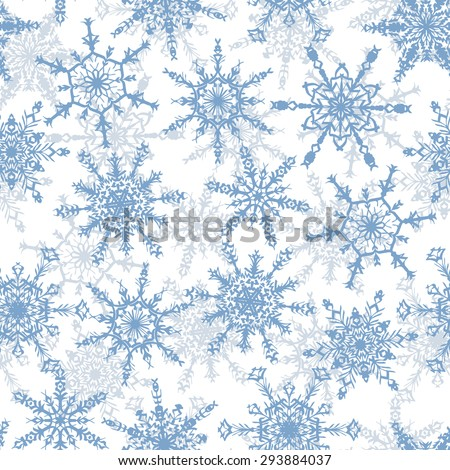 Holiday Wallpaper. Christmas and New Year background. Winter endless background. Snowflakes seamless pattern. Blue snowflakes on a white background.  - stock vector