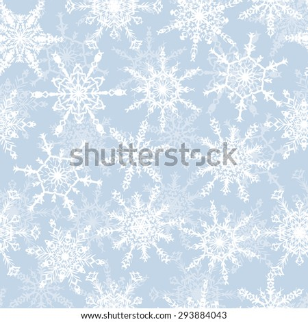 Holiday Wallpaper. Christmas and New Year background. Winter endless background. Snowflakes seamless pattern. White snowflakes on a light blue background.  - stock vector