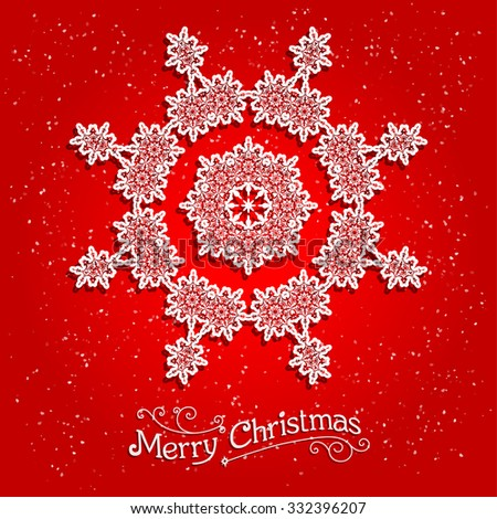 Holiday white snowflake on red background. Ornamental snowflake on red background.  Big holiday snowflake. Design for card, banner, invitation, leaflet and so on. - stock vector