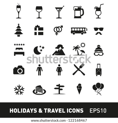 Holidays and Traveling Icon Set - stock vector