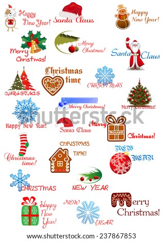 Holidays designs for Christmas and New Year greeting card, invitation, party design with christmas trees, balls, snowman, snowflake, gingerbread, Santa Claus, gift, sock and greetings - stock vector