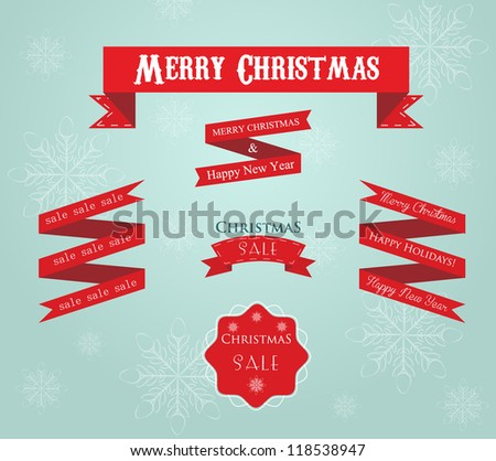 Holidays greetings and sale labes with ribbon  on snowflake background - stock vector