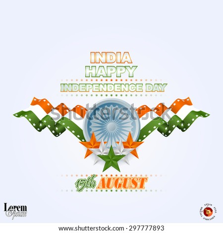 Holidays layout template with National Celebration of India; Orange, white and green stars and Ashoka wheel on national flag colors for fifteenth of August, Indian Independence Day - stock vector