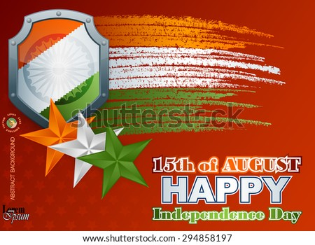 Holidays layout template with shield painted in national flag colors; Orange, white and green stars and grunge, brush texture on national flag colors for fifteenth of August, Indian Independence Day  - stock vector