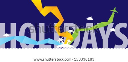 Holidays sea landscape. Vector. - stock vector