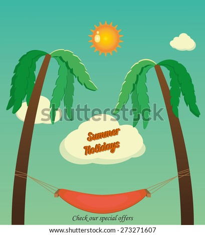 Holidays with palms and hammock - stock vector