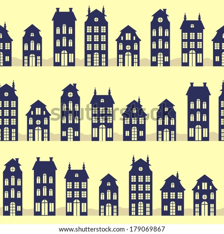 Holland houses silhouettes seamless pattern - stock vector