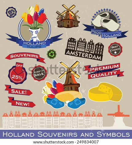 Holland Souvenirs and Symbols. Vector set of Sticker and Ribbon - stock vector