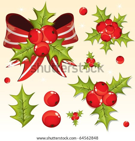 Holly berry design elements, vector - stock vector