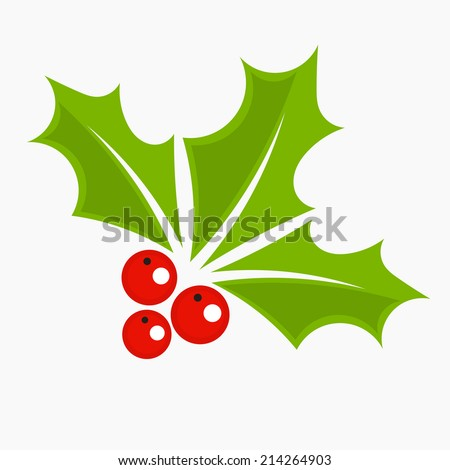 Holly berry icon, Christmas symbol. Vector illustration - stock vector