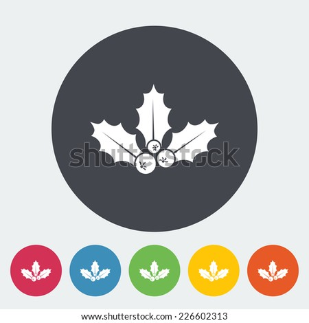 Holly berry. Single flat icon on the circle. Vector illustration. - stock vector