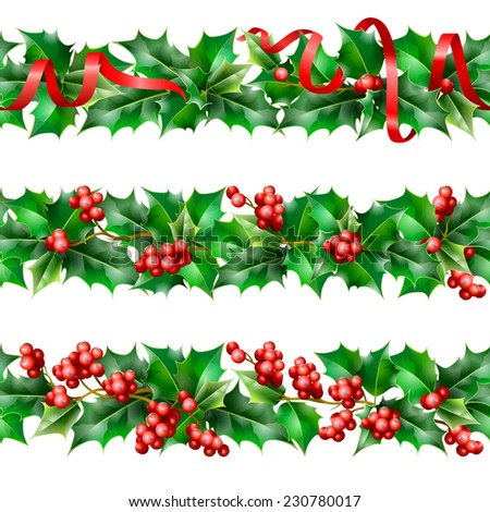 Holly. Christmas seamless background. Vector  EPS 10. - stock vector