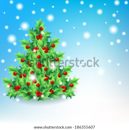 holly christmas tree - stock vector