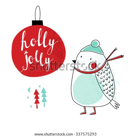 Holly Jolly Christmas card with a bird. Vector illustration. Hand drawn typography poster. Xmas design. Calligraphy for Christmas cards and posters, vector lettering. - stock vector