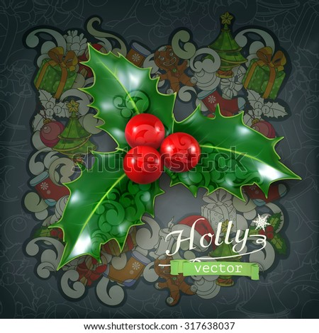 Holly traditional Christmas decoration, vector icon - stock vector