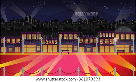 Hollywood Celebrity Background At Night - Red Carpet, Railings, Lights Glamour Cartoon Vector - stock vector