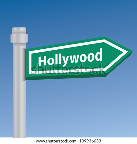 Hollywood signpost,vector - stock vector