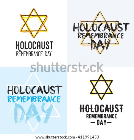 Holocaust remembrance day typography set. 5 may. Jewish star. Vector banner, card or logo for holocaust remembrance event. Holocaust remembrance day graphics. - stock vector