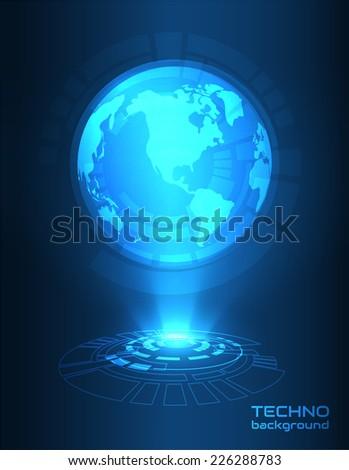 Hologram globe vector background. Vector eps10. Futuristic background. Western hemisphere - stock vector