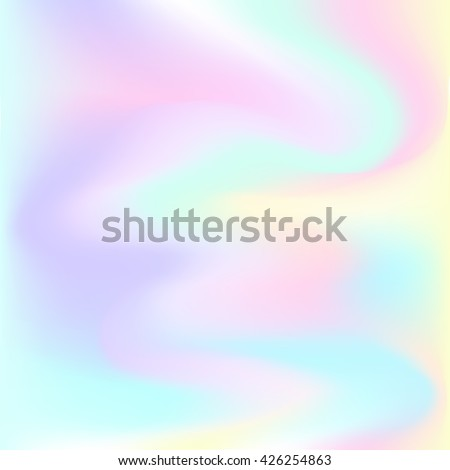 Hologram hipster card in pastel colors . Vector Abstract  illustration. Glitch Holographic backdrop. Blur colorful pattern. Petrol spot background - stock vector