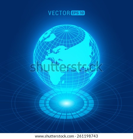Holographic globe with continents against the dark-blue abstract background with circles and light source - stock vector