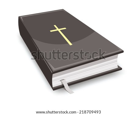 holy bible, book with golden cross on covers - stock vector