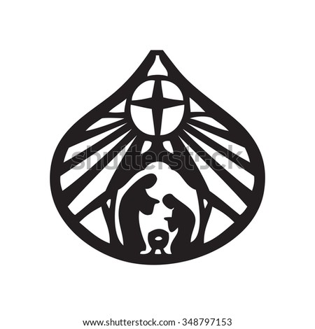 Holy family Christian silhouette icon vector illustration on white background. Scene of the Holy Bible - stock vector