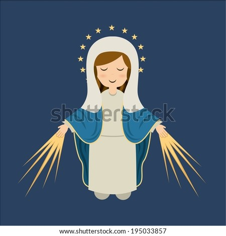 Holy Mary design over blue background, vector illustration - stock vector