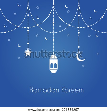 Holy month of muslim community, Ramadan Kareem celebration greeting card with hanging arabic lamp, star and moon on blue background. - stock vector