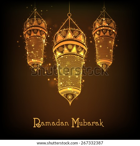 Holy month of muslim community, Ramadan Kareem celebration with floral decorated hanging golden arabic lantern on shiny brown background. - stock vector