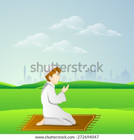 Holy month of muslim community, Ramadan Kareem celebration with illustration of islamic boy in traditional outfit reading Namaaz, islamic prayer in front of mosque or masjid. - stock vector