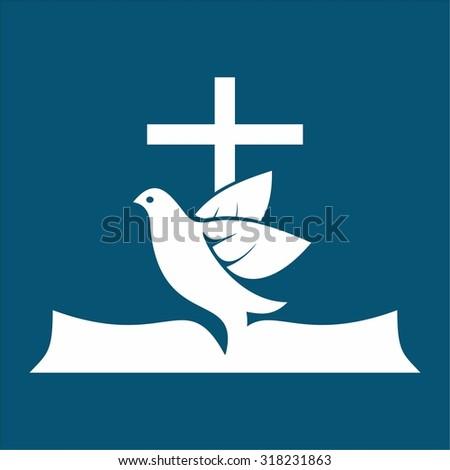 Holy spirit, cross, dove, Bible - stock vector