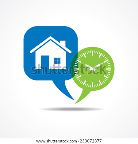Home and clock in message bubble stock vector  - stock vector