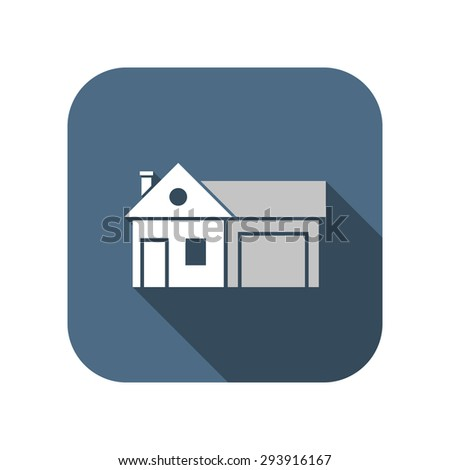 Home and garage, vector illustration - stock vector