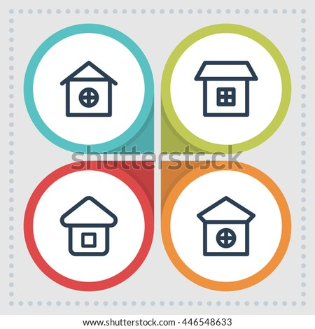 Home and house icons. Building pictogram. Real estate vector graphic. Cottage design collection. - stock vector