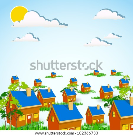 home and nature concept - stock vector